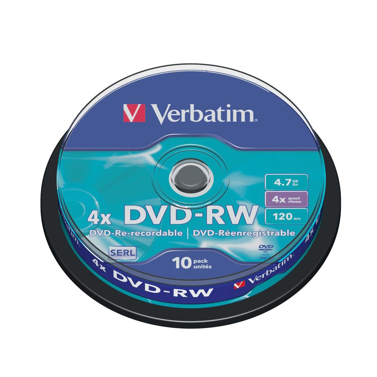 Verbatim DVD-RW Recordable Ref 43552 Pack 10