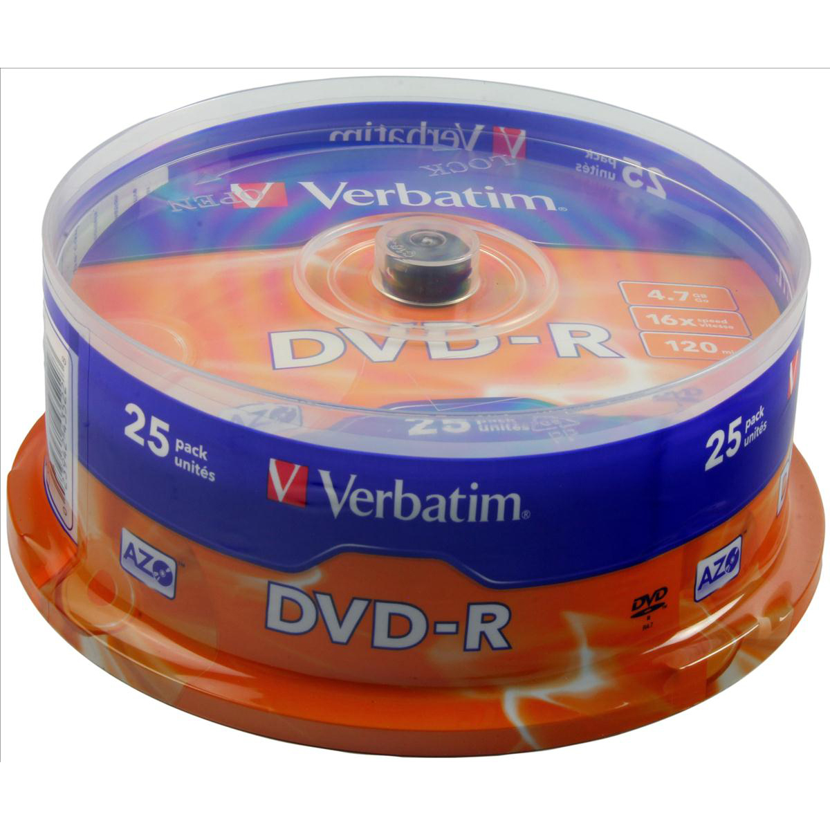 Digital versatile disks DVDs Verbatim DVD-R Spindle Ref 43522-1 Pack 25