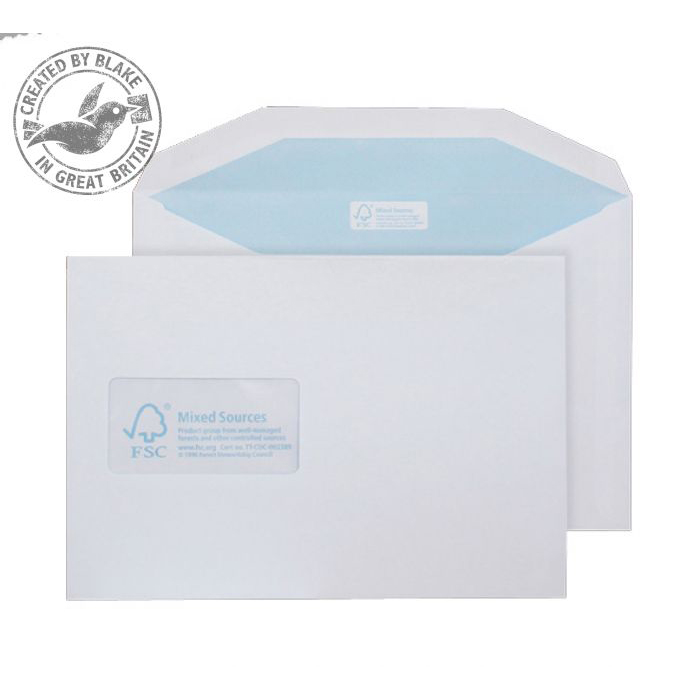 Purely Environmental Mailer Gummed Window White 90gsm C5 162x229 Ref FSC378 Pk500 10 Day Leadtime