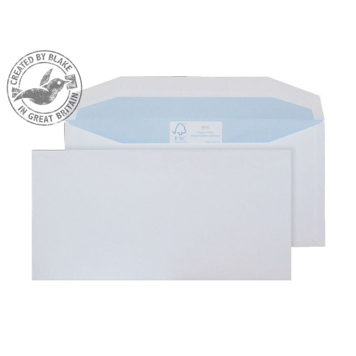 Purely Environmental Mailer Wallet Gum White 90gsm BRE 102x216 Ref FSC700 Pk1000 *10 Day Leadtime*