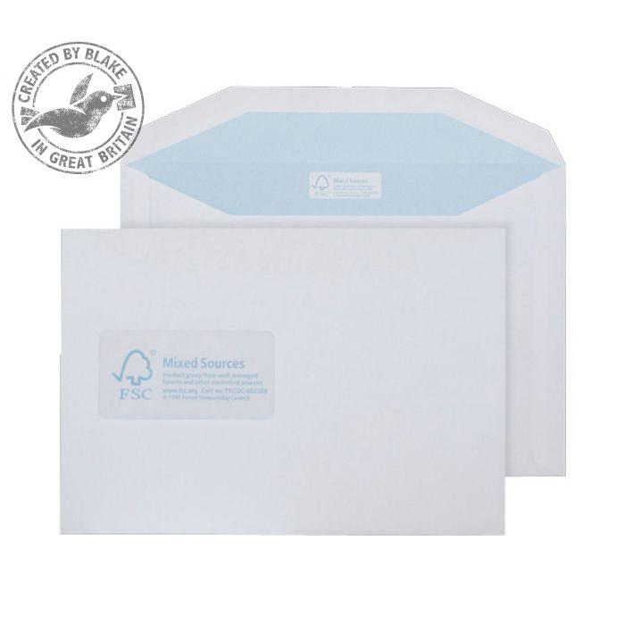 Purely Environmental Mailer Gummed Wndw White 90gsm C5+ 162x238 Ref FSC478 Pk500 *10 Day Leadtime*