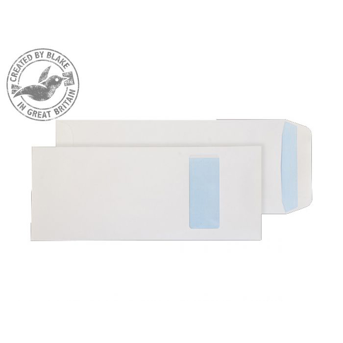 Purely Everyday White Self Seal Pocket Half Window C4 305x127mm Ref 1501 Pk 250 10 Day Leadtime