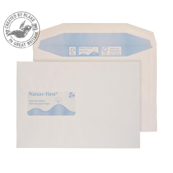Purely Environmental Mailer Gummed Window White 90gsm C5+ 162x238 Ref RN030 Pk500 10 Day Leadtime