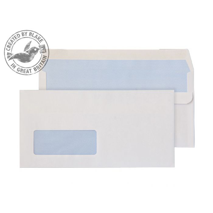 Purely Everyday White Self Seal Wallet Window DL 110x220mm Ref 13884 [Pack 1000] *10 Day Leadtime*
