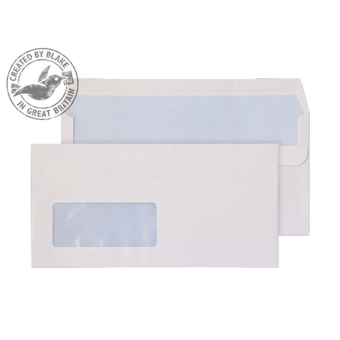 Purely Everyday White Self Seal Wallet Window DL 110x220mm Ref 14884 Pack 1000 *10 Day Leadtime*
