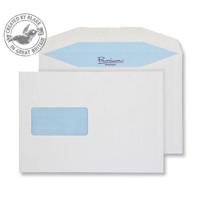 Blake Premium Postfast Mailing Wallet Wndw Gum White C5 90gsm Ref PF708DG Pk500 10 Day Leadtime