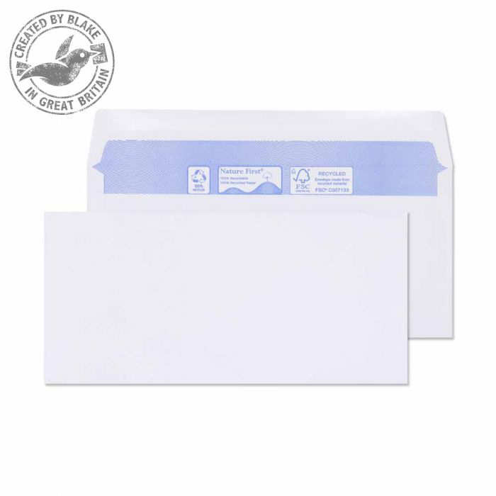 Blake Purely Environmental DL BRE 102x216mm Wallet Gum 80gsm White Ref RN010 Pk1000 *3to5 Day Leadtime*