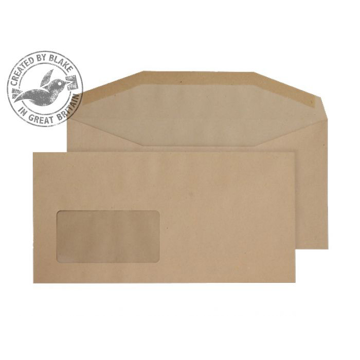 Purely Everyday Mailer Gummed Window Manilla 80gsm DL+ 121x235 Ref 1114 Pk 1000 10 Day Leadtime