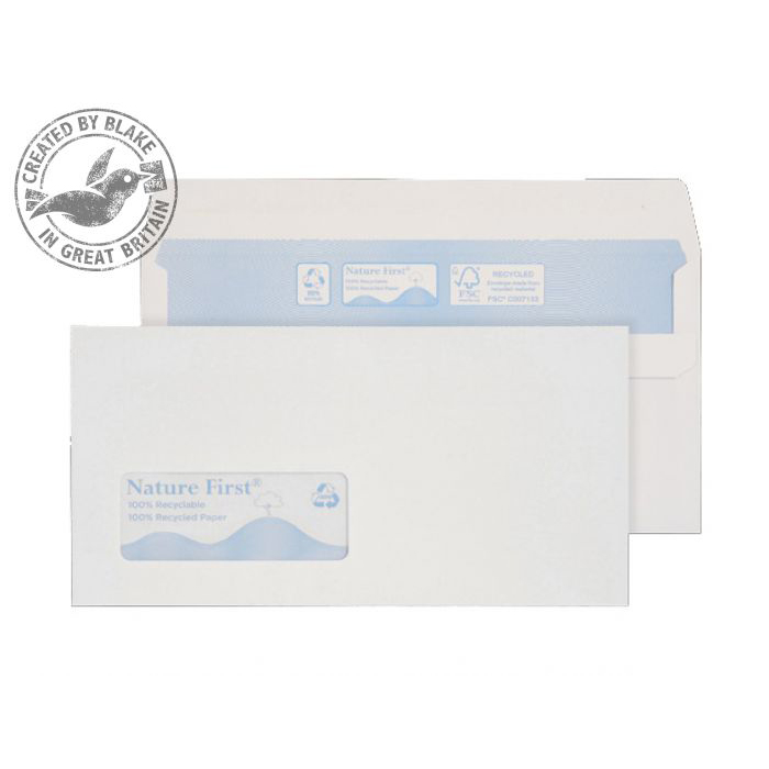 Purely Environmental Wallet Self Seal Low Wndw White 90gsm DL Ref RN17884 Pk1000 10 Day Leadtime