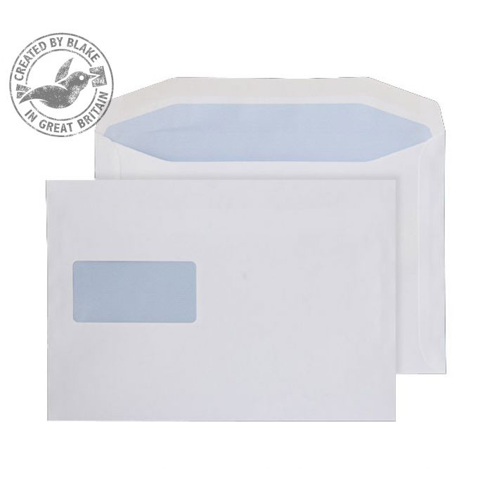Wage Envelopes Purely Everyday Mailer Gummed High Window White 90gsm 178x254mm Ref 5508 Pk 500 *10 Day Leadtime*