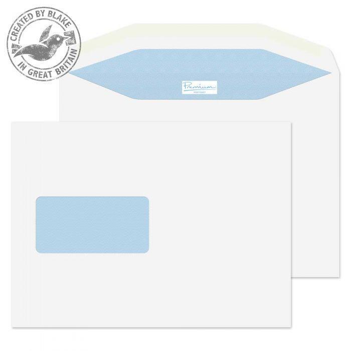 Blake Prem Pstfast Mail Wallet Wndw Gum White C5+ 162x235 90gsm Ref PF848IJ Pk500 *10 Day Leadtime*