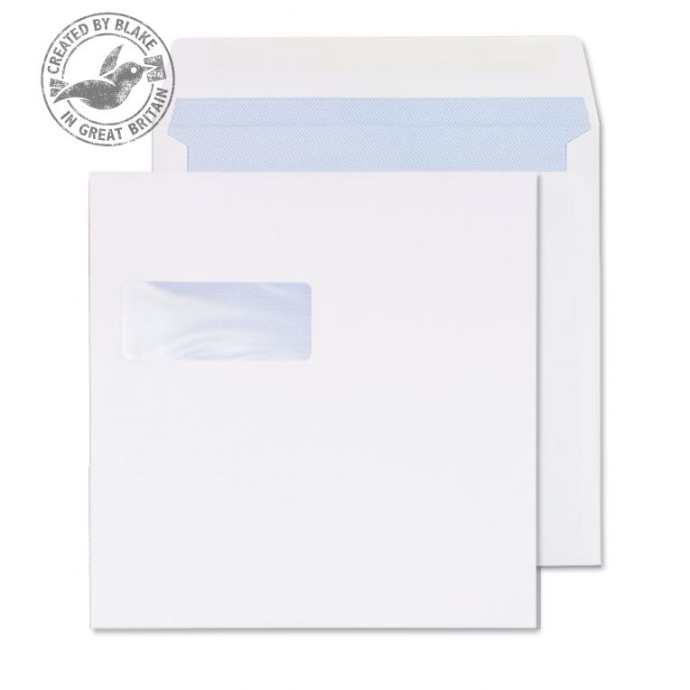Purely Everyday Square Wallet Gummed Window White 100gsm 240x240 Ref 0240W Pk 250 *10 Day Leadtime*
