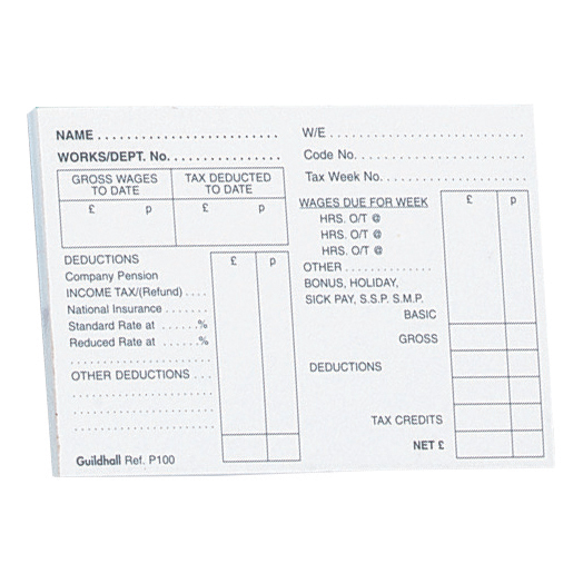Guildhall PAYE Wages Slips Pad 100 Leaf 89x127mm Ref P100Z Pack 5