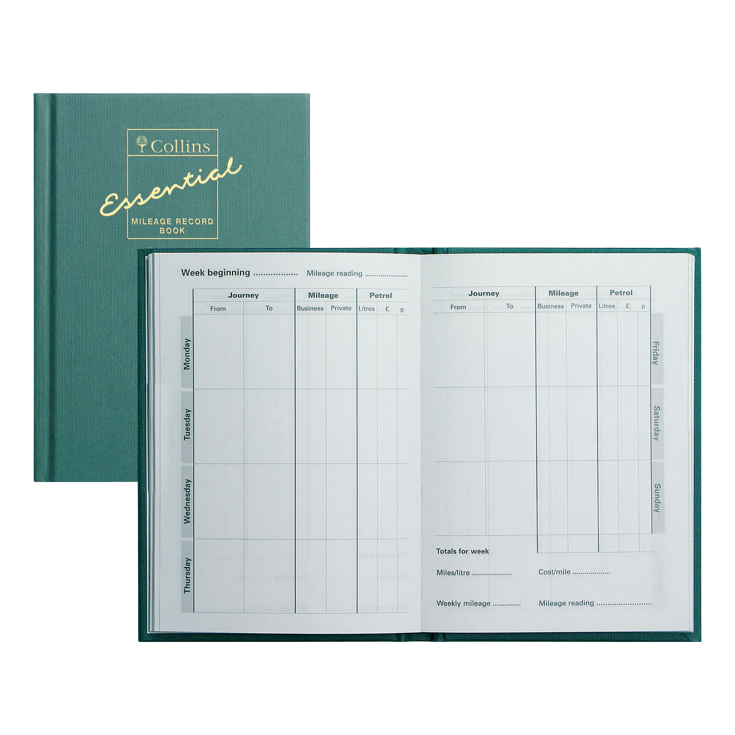 Mileage Collins Mileage Record Book 64 Pages 148x105mm Green Ref MRB1