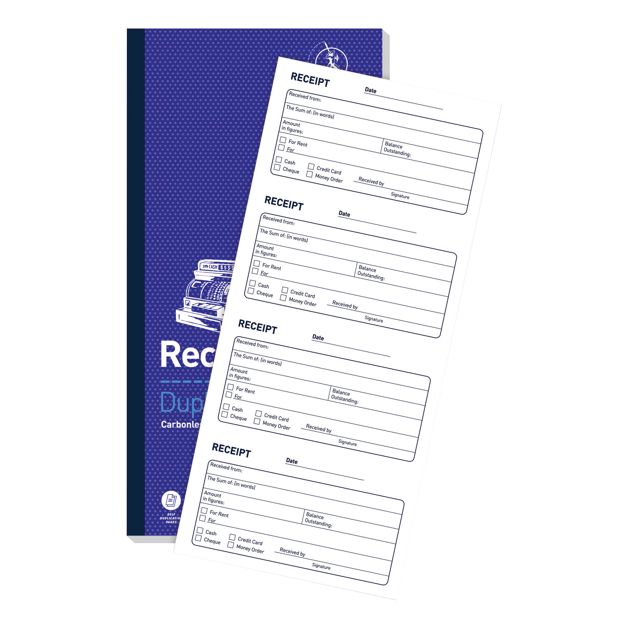 Challenge Duplicate Book Carbonless Receipt Book 2 Sets per Page 50 Sets 140x70mm Ref 400048628 Pack 10