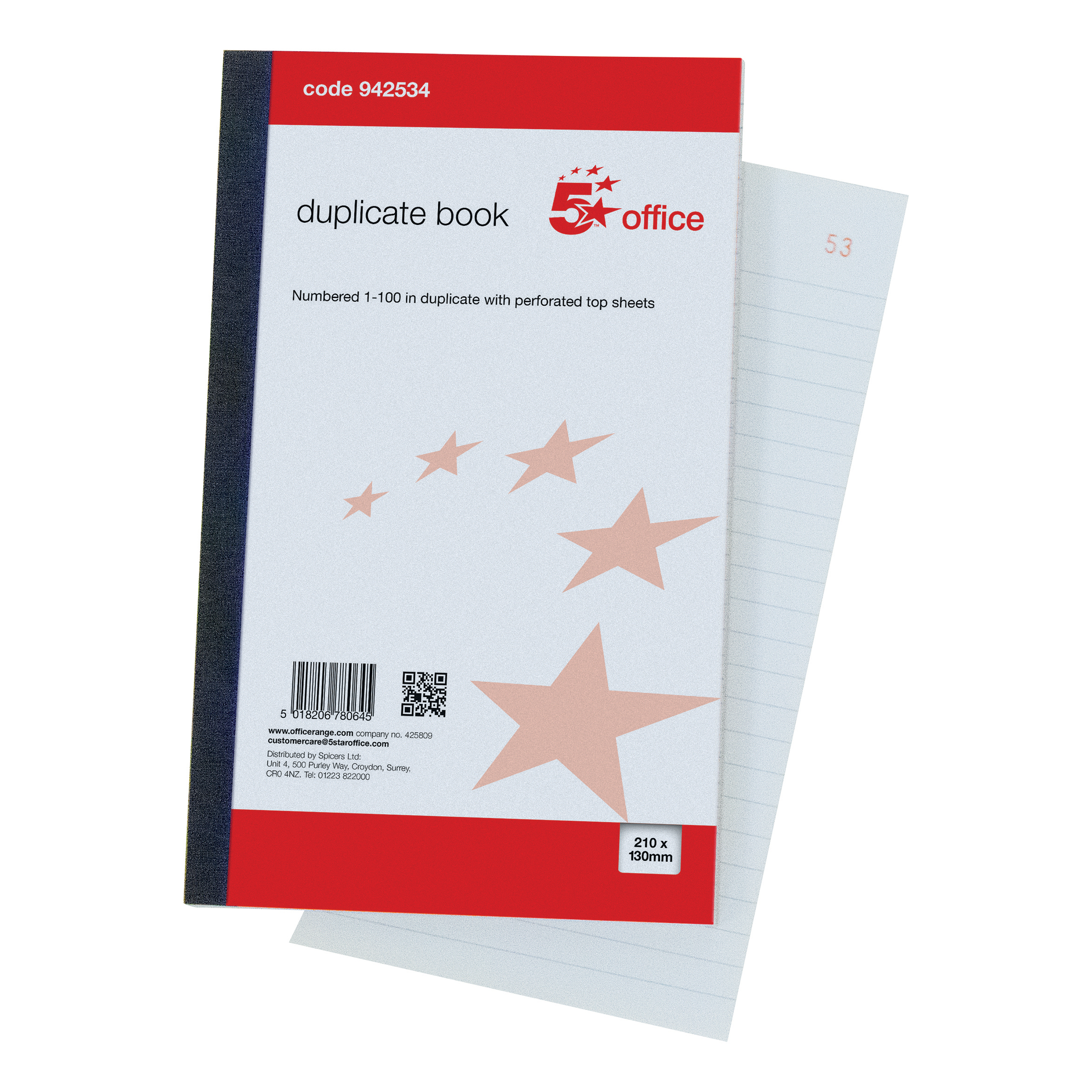 Duplicate 5 Star Office Duplicate Book with Carbon Ruled Indexed and Perforated 100 Sets 210x130mm