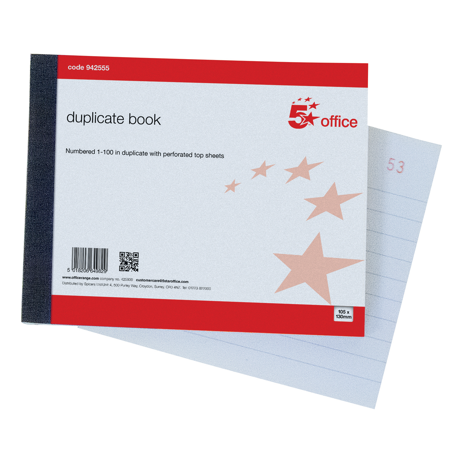 Duplicate 5 Star Office Duplicate Book with Carbon Ruled Indexed and Perforated 100 Sets 105x130mm