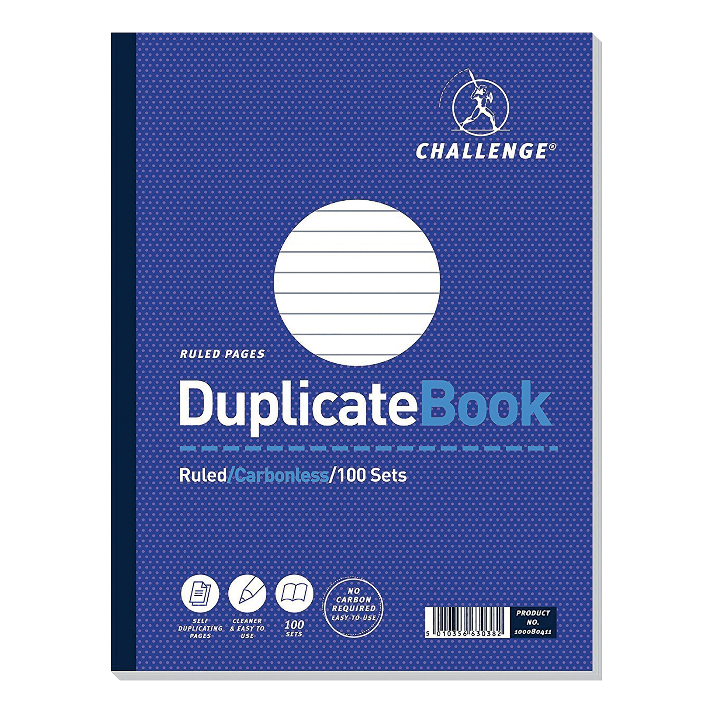 Challenge Duplicate Book Carbonless Ruled 100 Sets 248x187mm Ref 100080411 Pack 3