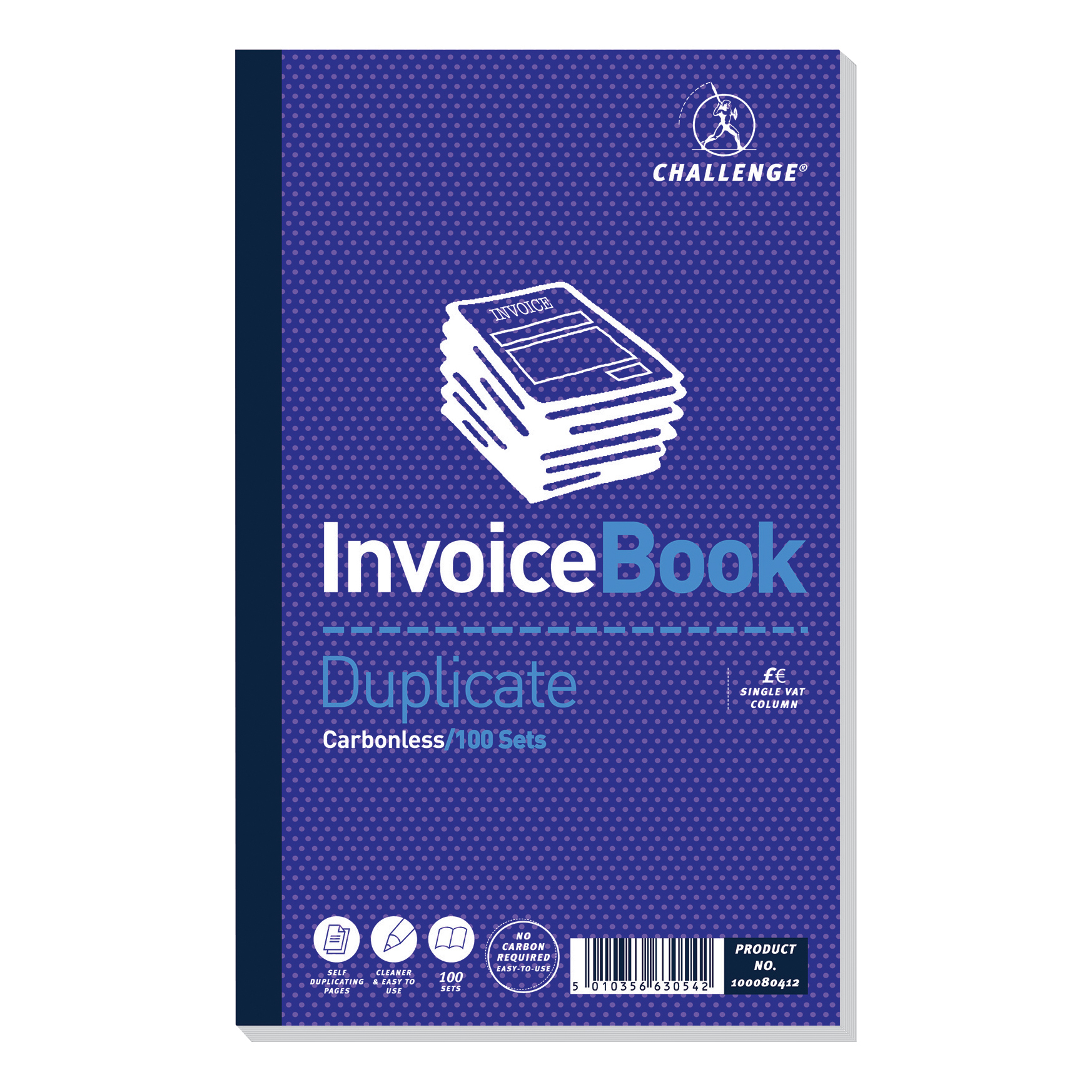 Duplicate Challenge Duplicate Book Carbonless Invoice Single VAT/Tax 100 Sets 210x130mm Ref 100080412 [Pack 5]
