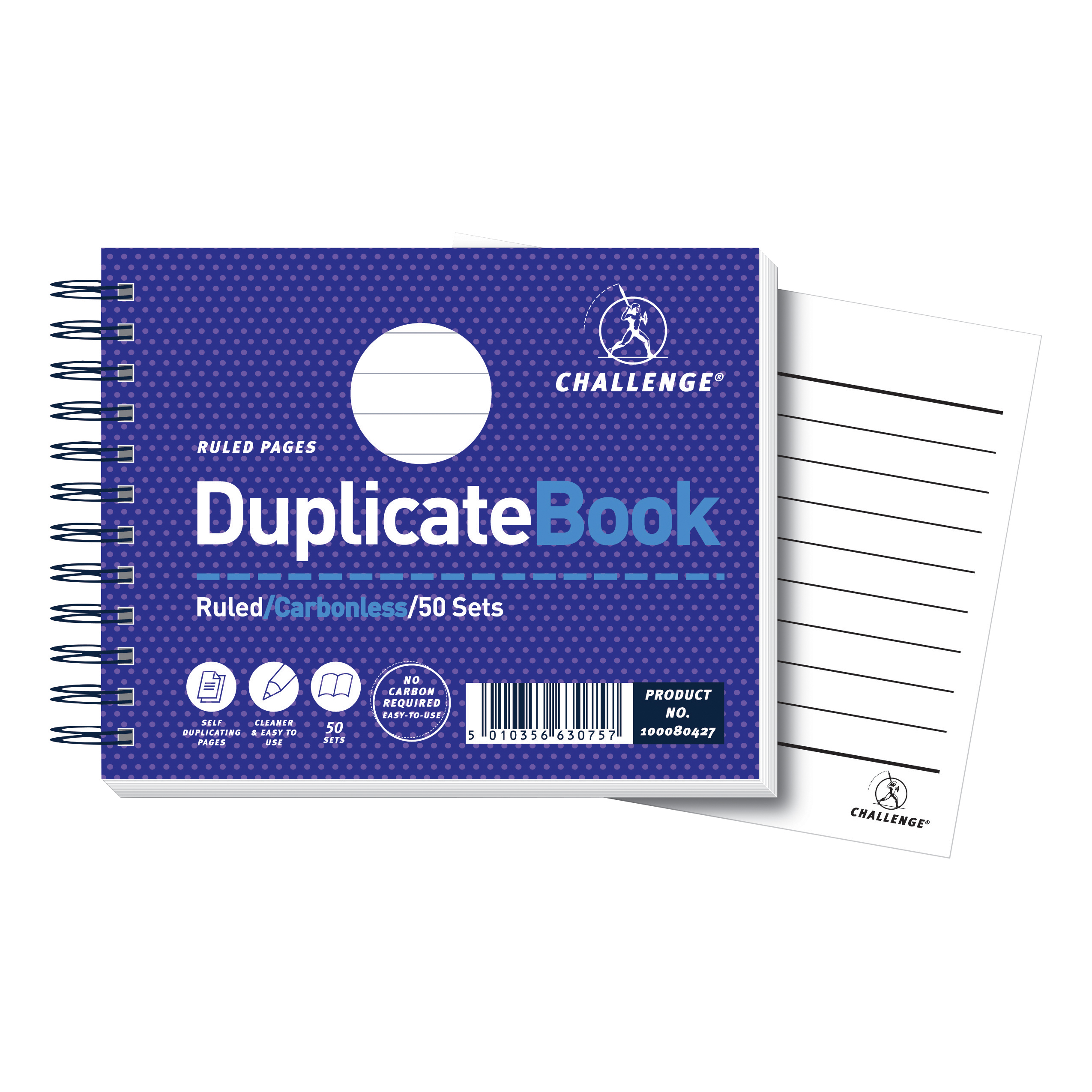 Duplicate Challenge Duplicate Book Carbonless Wirebound Ruled 50 Sets 105x130mm Ref 100080427 Pack 5