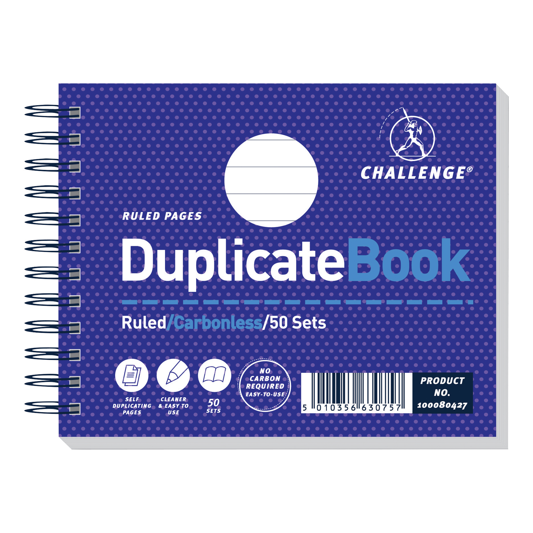 Challenge Duplicate Book Carbonless Wirebound Ruled 50 Sets 105x130mm Ref 100080427 Pack 5