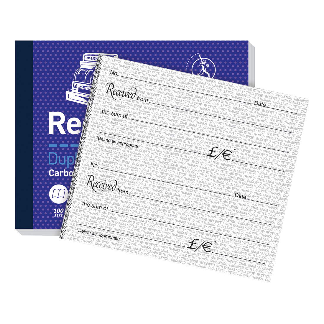 Challenge Duplicate Book Carbon Receipt Book 2 Sets per Page 100 Sets 105x130mm Ref 100080444 Pack 5
