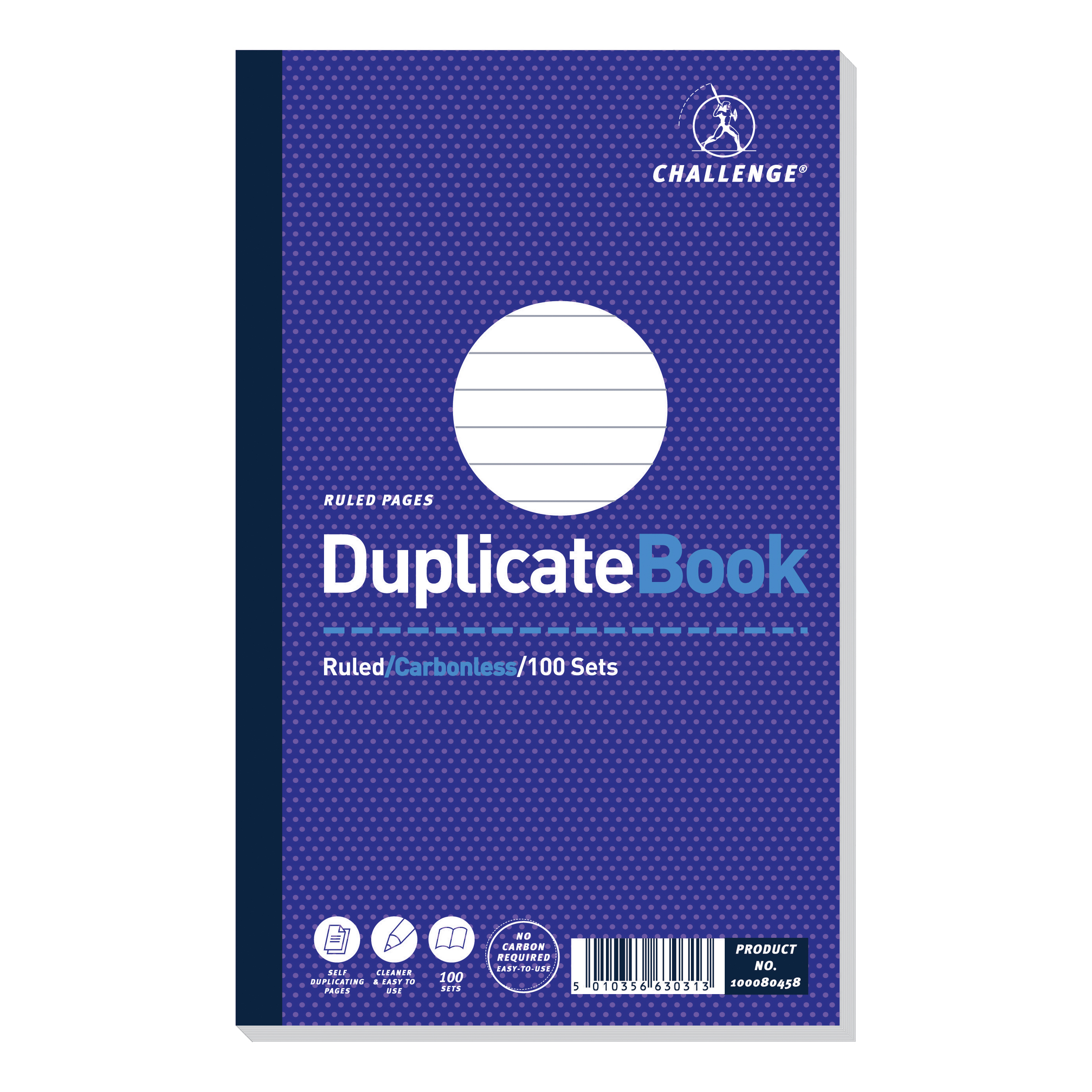 Challenge Duplicate Book Carbonless Ruled 100 Sets 210x130mm Ref 100080458 Pack 5