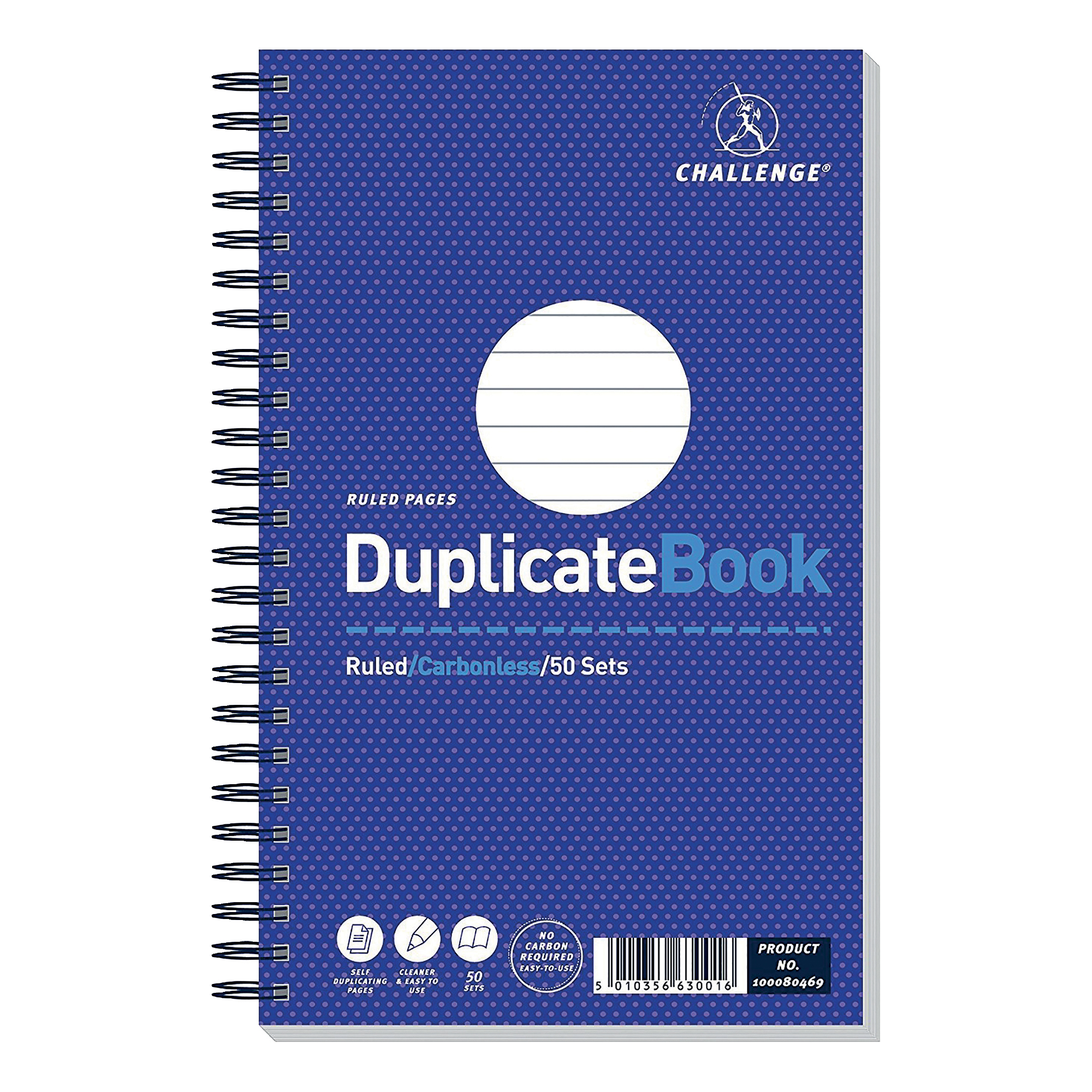 Challenge Duplicate Book Carbonless Wirebound Ruled 50 Sets 210x130mm Ref 100080469 Pack 5