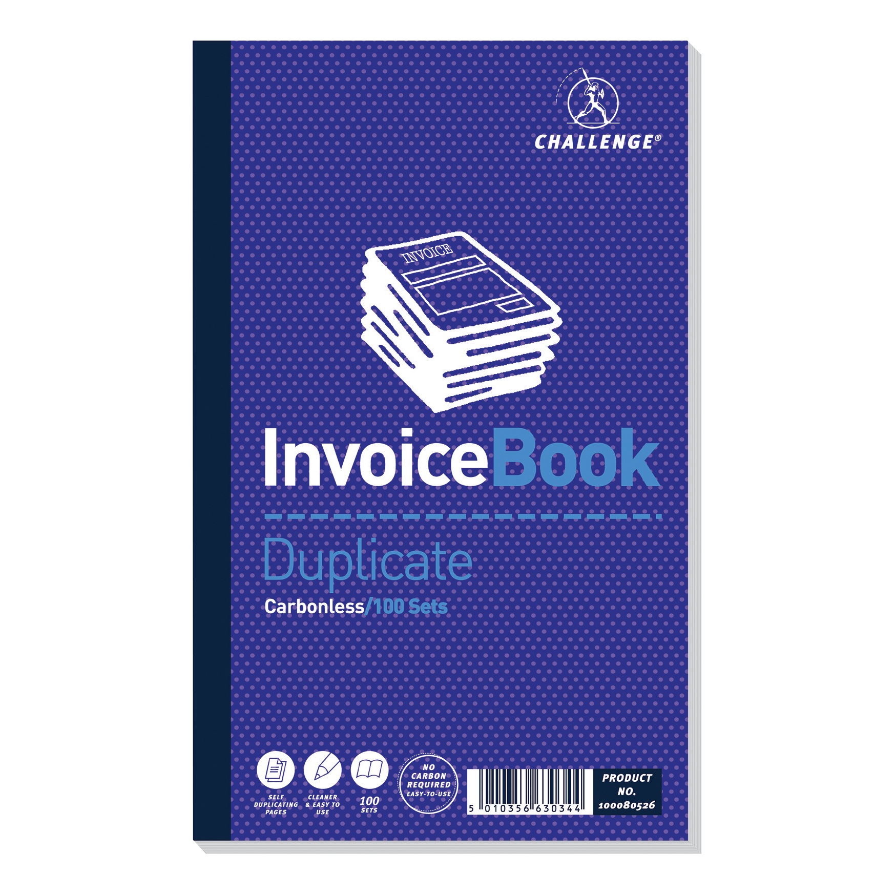 Duplicate Challenge Duplicate Book Carbonless Invoice without VAT/tax 100 Sets 210x130mm Ref 100080526 [Pack 5]