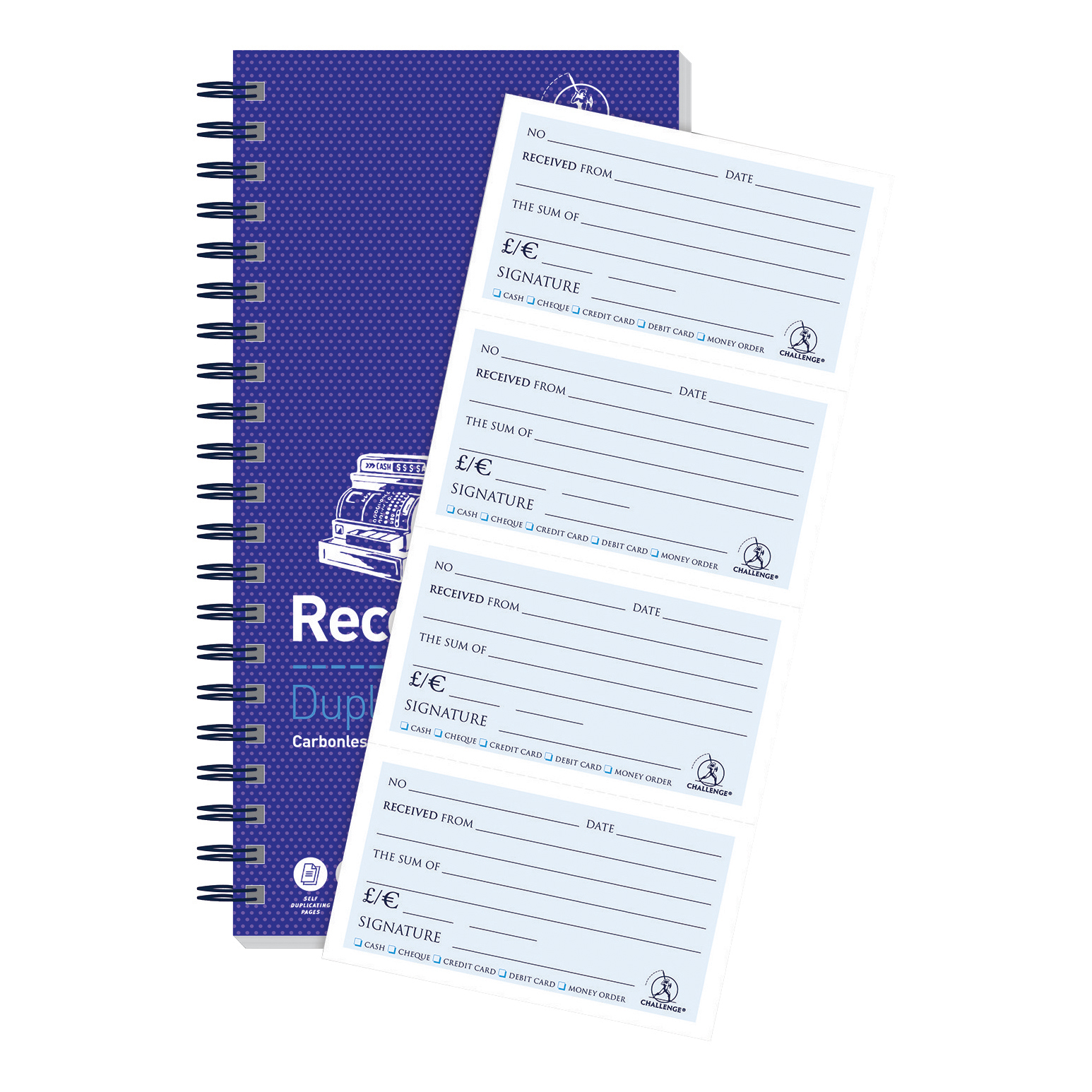 Accounts Binders & Refills Challenge Duplicate Book Carbonless Receipt Book Wirebound 4 Sets a Page 200 Sets 280x141mm Ref 100080056
