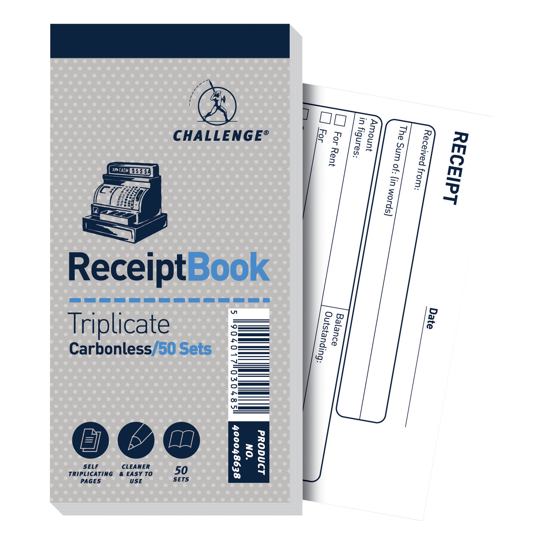 Challenge Triplicate Book Carbonless Receipt 50 Receipts 140x70mm Ref 400048638 Pack 10