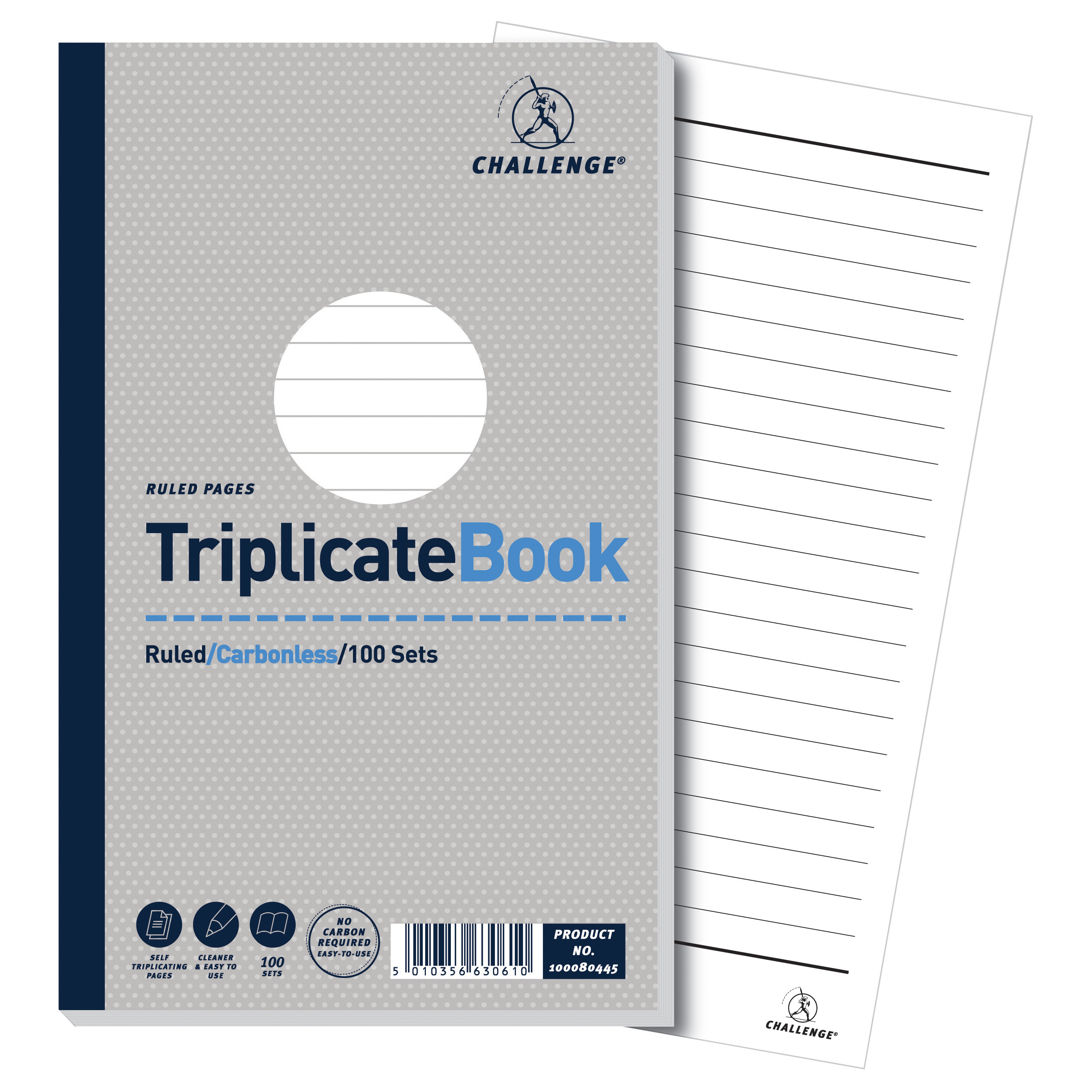 Challenge Triplicate Book Carbonless Ruled 100 Sets 210x130mm Ref 100080445 Pack 5