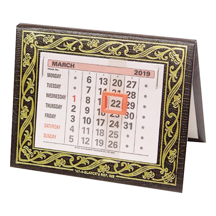 At-A-Glance 2019 Desk Calendar Month to View Leatherette Binding 134x108mm Assorted Ref 825 2019
