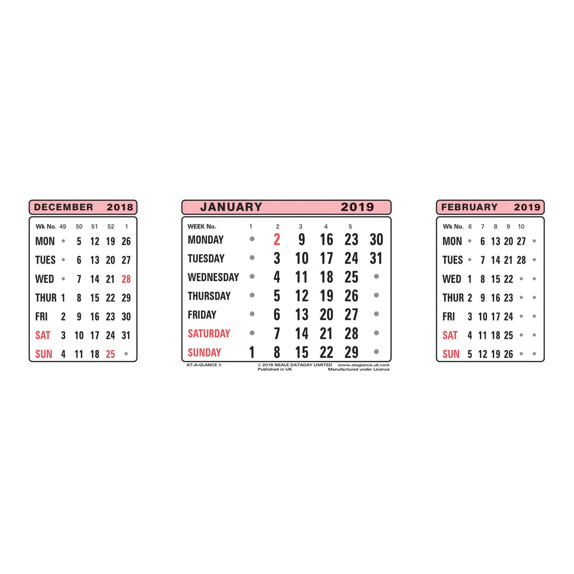 At-A-Glance 2019 Refill Dates for Three Months to View Desk Calendar 210x80mm White Ref 3SR 2019
