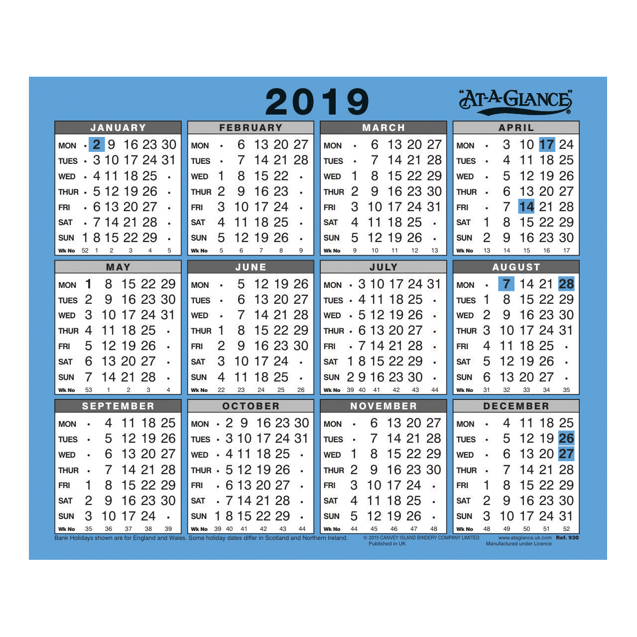 at a glance 2019 walldesk calendar year to view gloss board binding 254x210mm whiteblue ref 930 2019