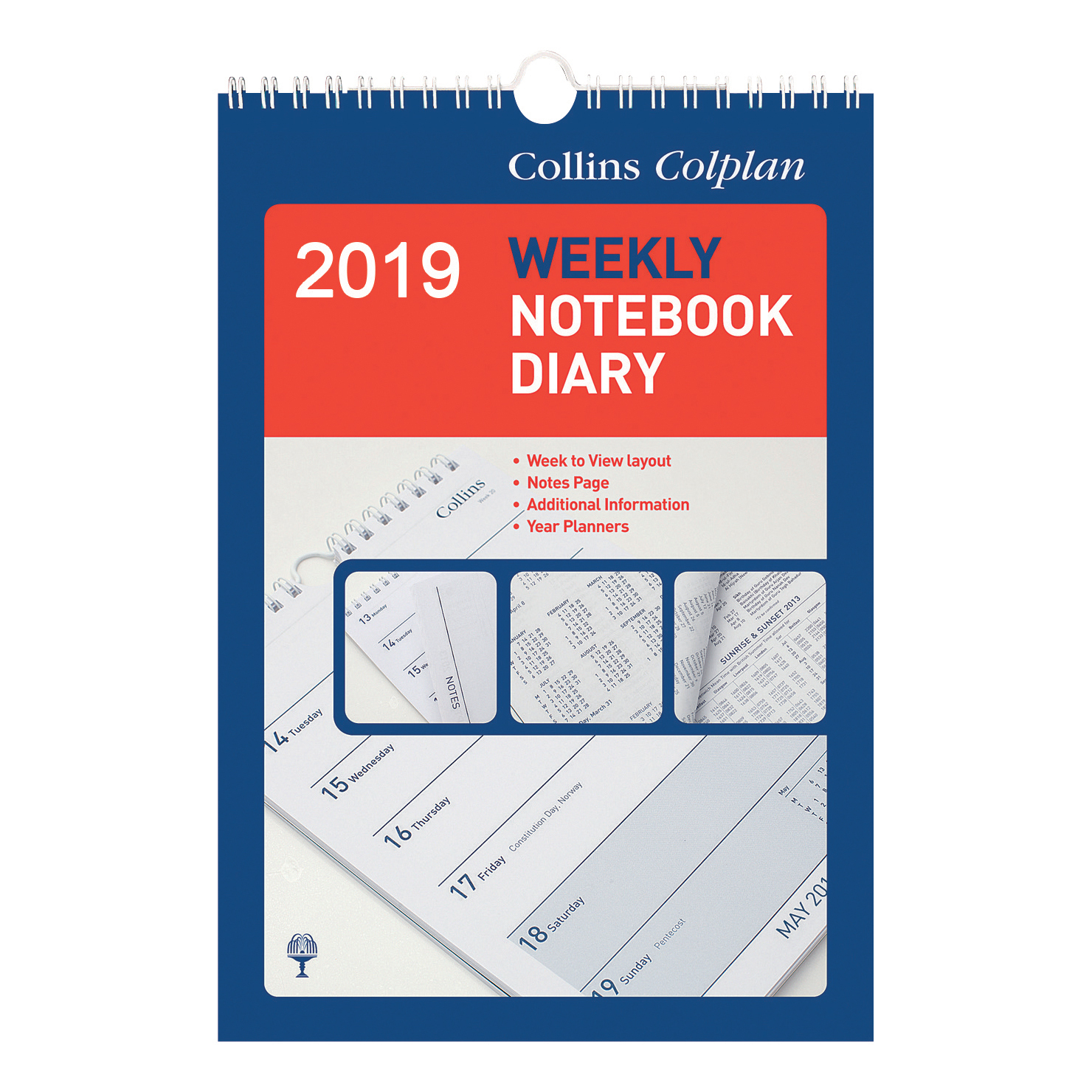 Collins Colplan 2019 Weekly Notebook Calendar Diary Week to View 148x210mm White/Blue Ref 60-2019