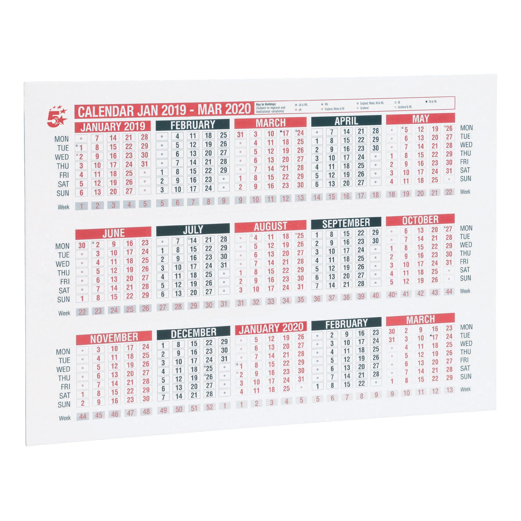 5 Star 2019 A4 Wall/Desk Calendar