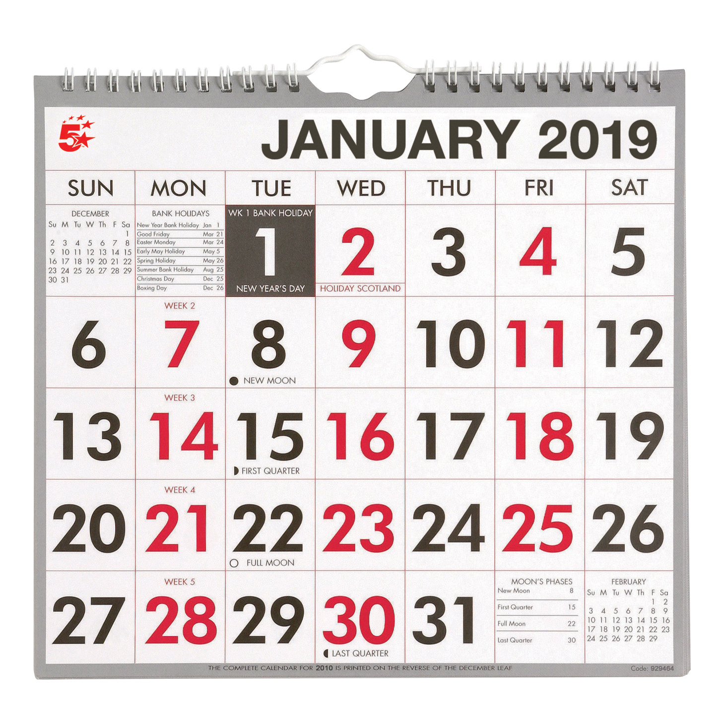 Image for 5 Star Office 2019 Wall Calendar Month to View Wirebound 135gsm Paper 249x231mm White/Red
