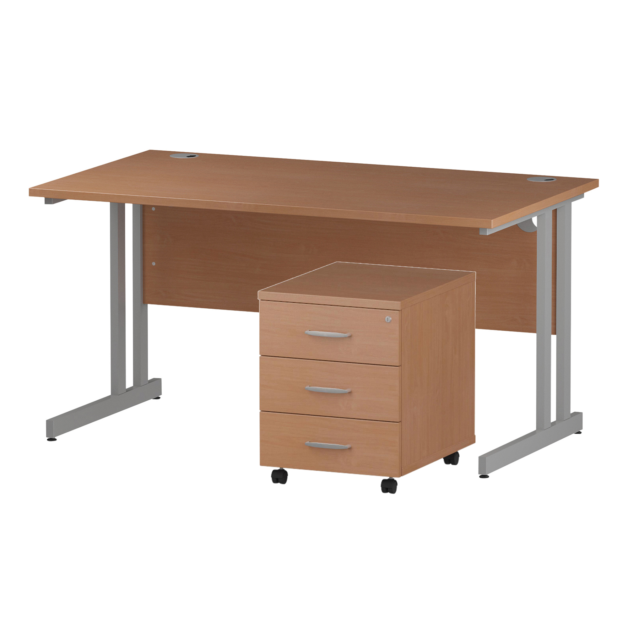 Desks Trexus Cantilever Desk 1400x800 & 3 Drawer Pedestal Beech Bundle Offer Feb-Apr 2020