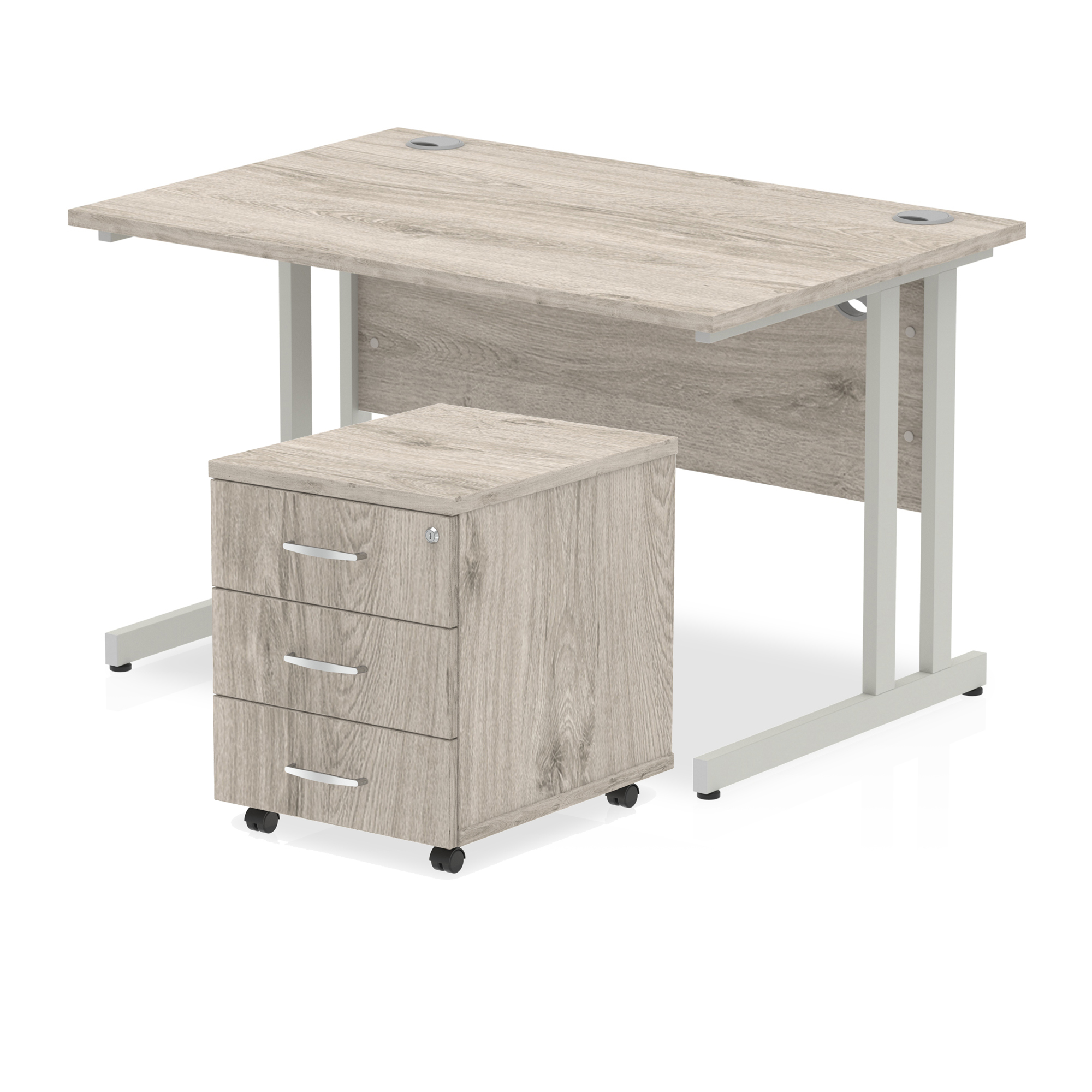 Desks Trexus Cantilever Desk 1200x800 & 3 Drawer Pedestal Grey Oak Bundle Offer Feb-Apr 2020