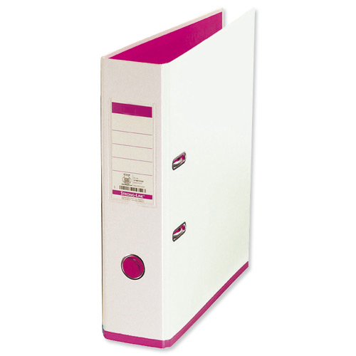 Lever Arch Files Oxford MyColour Lever Arch File Polypropylene Capacity 80mm A4Plus White & Pink Ref 100081031
