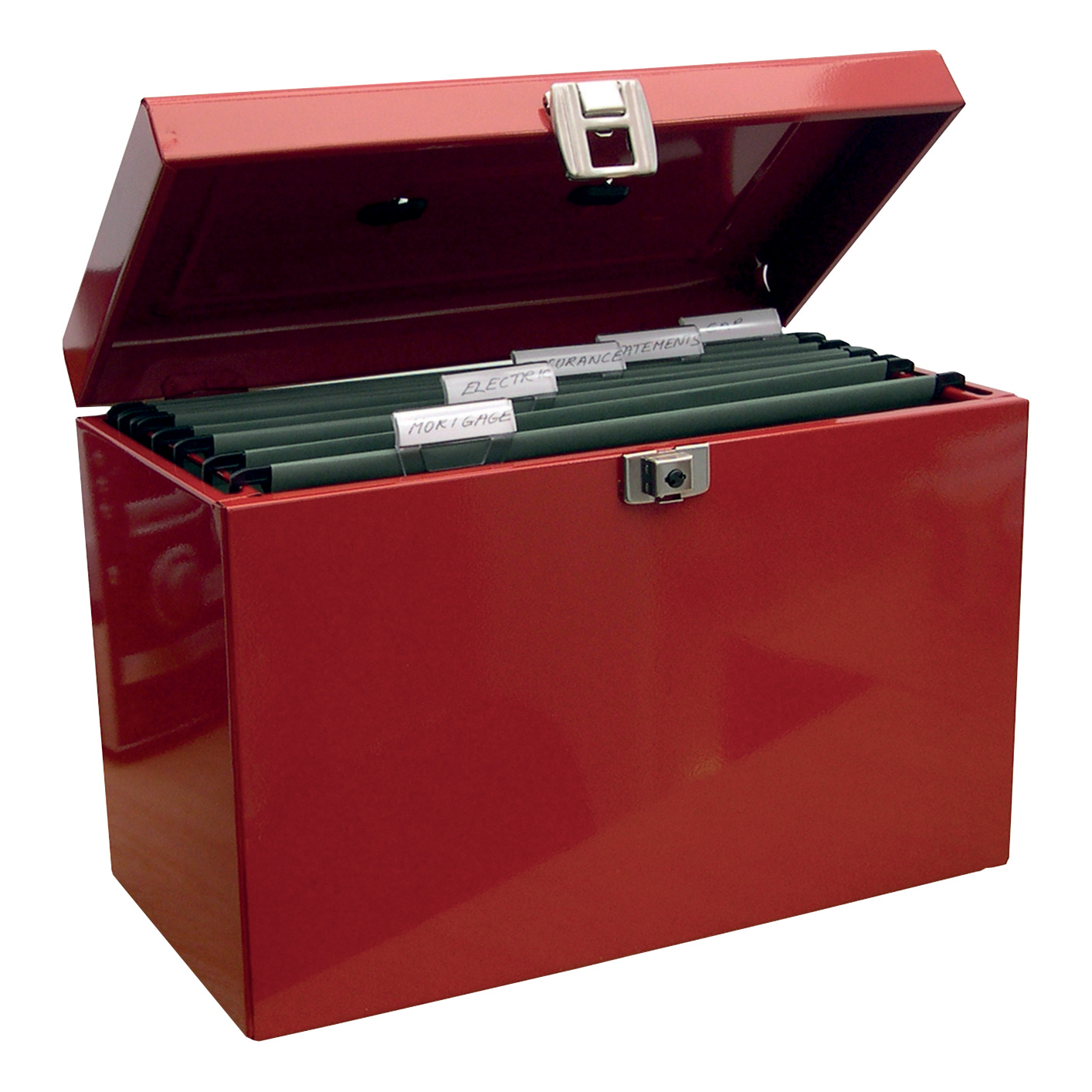 Metal File Box with 5 Suspension Files and 2 Keys Steel A4 Red