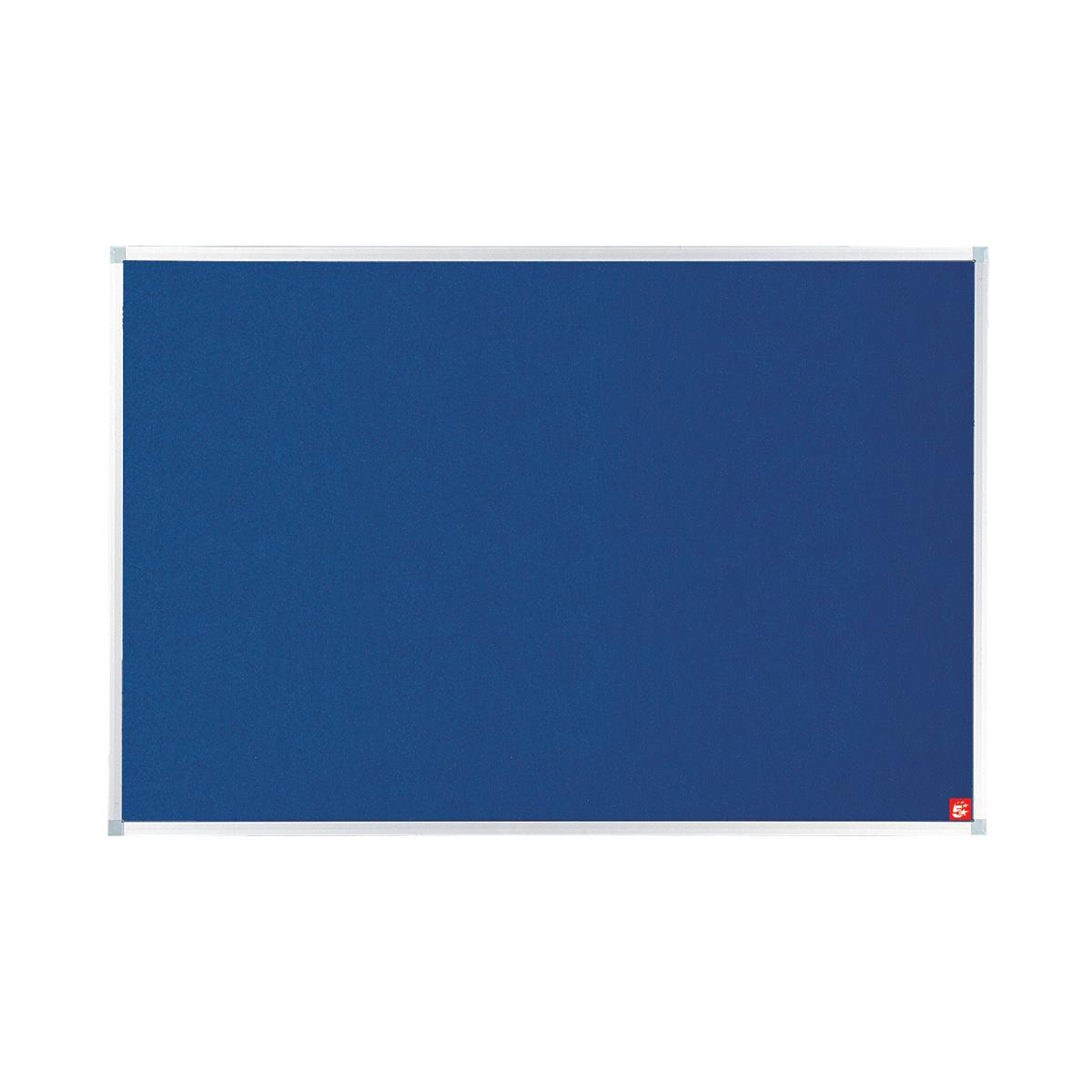 Felt 5 Star Office Felt Noticeboard with Fixings and Aluminium Trim W1200x900mm Blue