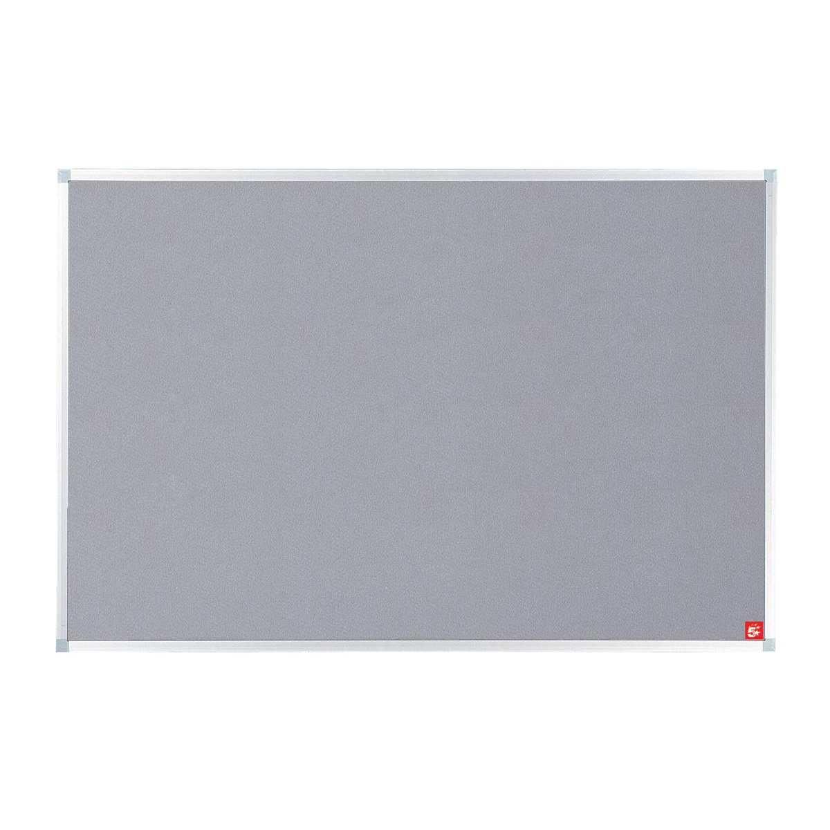 Felt 5 Star Office Felt Noticeboard with Fixings and Aluminium Trim W1200xH900mm Grey