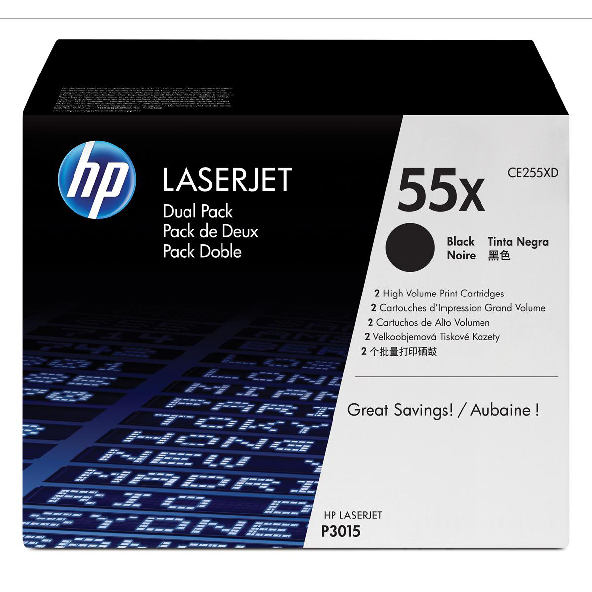 HP 55X Laser Toner Cartridge HY Page Life 12500pp Black Ref CE255XD Pack 2
