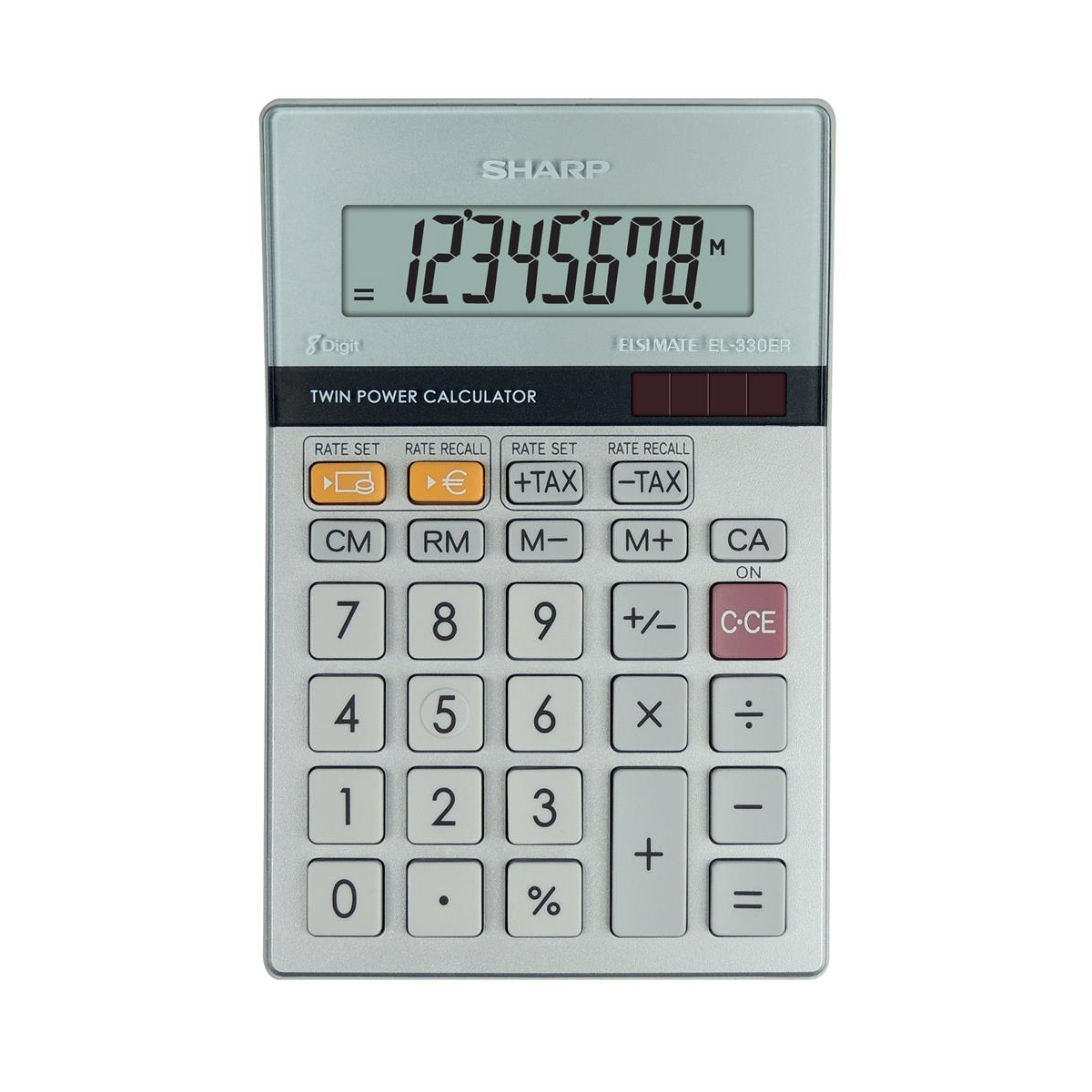 Calculators Sharp Desktop Calculator 8 Digit 4 Key Memory Battery/Solar Power 102x15x148mm Silver Ref EL330ERB