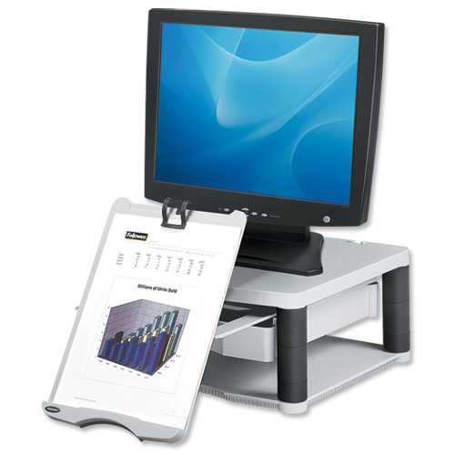 Fellowes Premium Monitor Riser Plus for 21in Capacity 36kg 5 Heights 118-168mm Grey Ref 91713