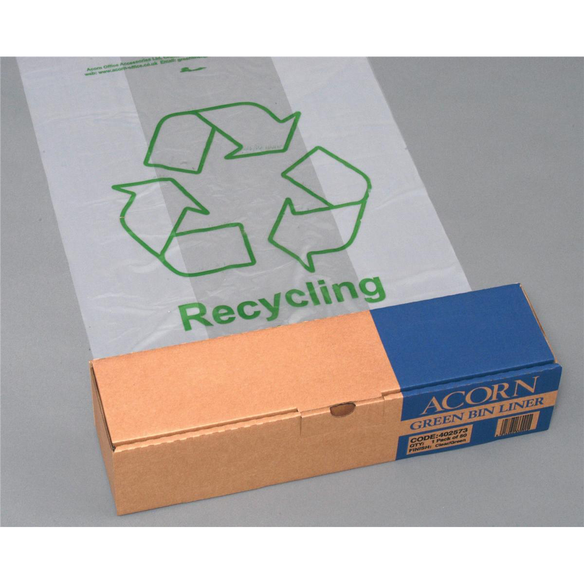 Acorn Green Bin Liners Capacity 60 Litres 630x860mm Clear and Printed Ref 402573 [Pack 50]
