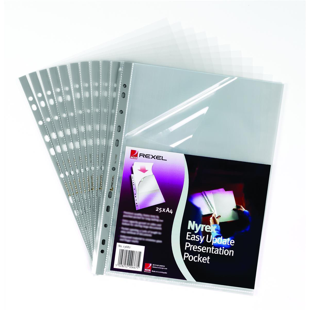 Rexel Nyrex Premium Presentation Pocket Top and Side-opening 90 Micron A4 Glass Clear Ref 13682 Pack 25
