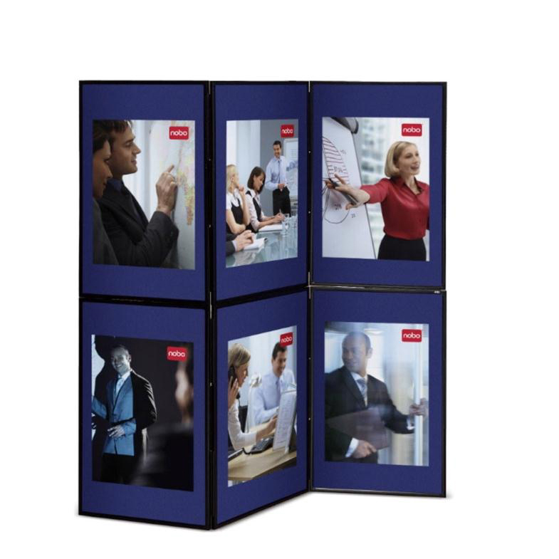 Display Panels Nobo Showboard Display 6 Panels Each of W600xH900xD20mm Sides 9.75kg Blue & Grey Ref 1900043